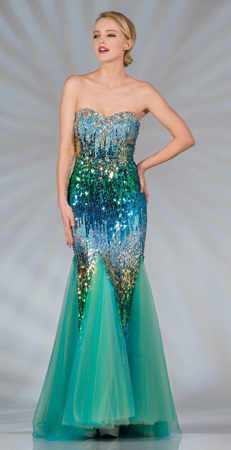 Long Multi Color Turquoise Sequin Dress Strapless Mermaid Skirt ...