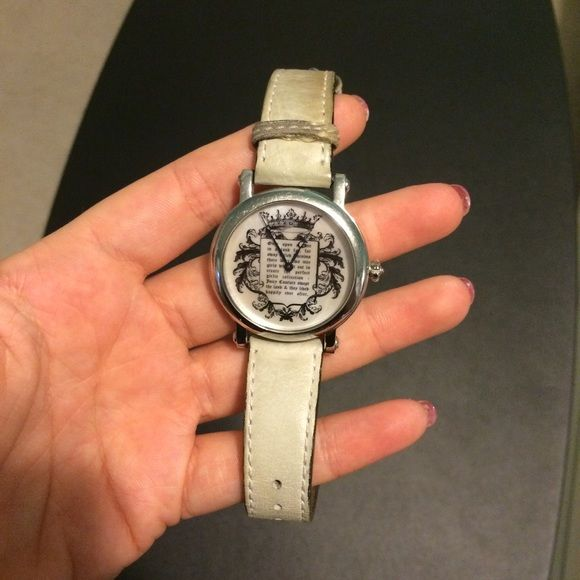 Juicy Couture Watch Juicy Couture Watch, used. Theres a stain on it, but i have no clue what it is. Has a small crown (as seen in the third picture) Juicy Couture Accessories Watches