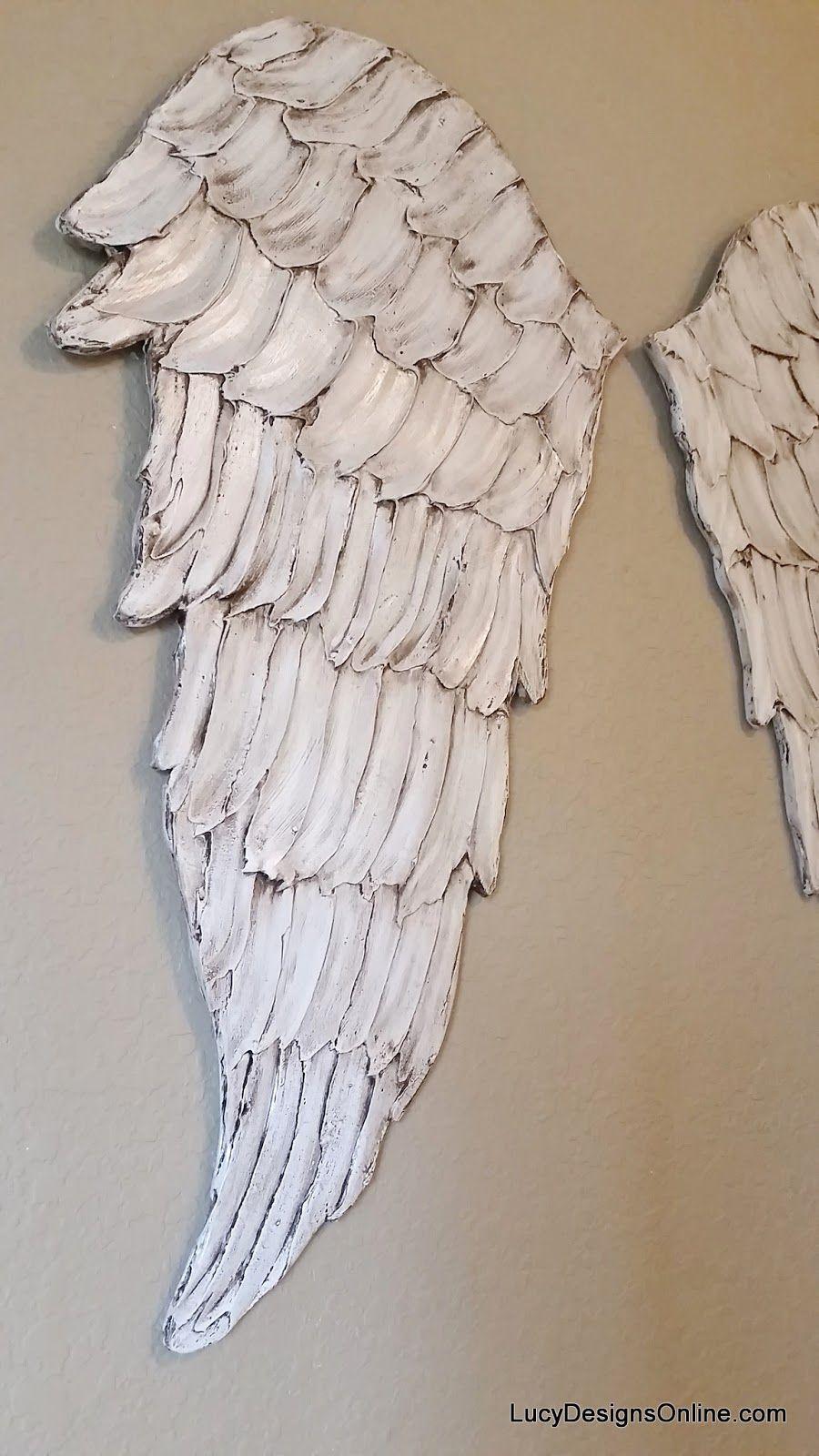 Wood Angel Wings Wall Art, Carved Wood Look, International