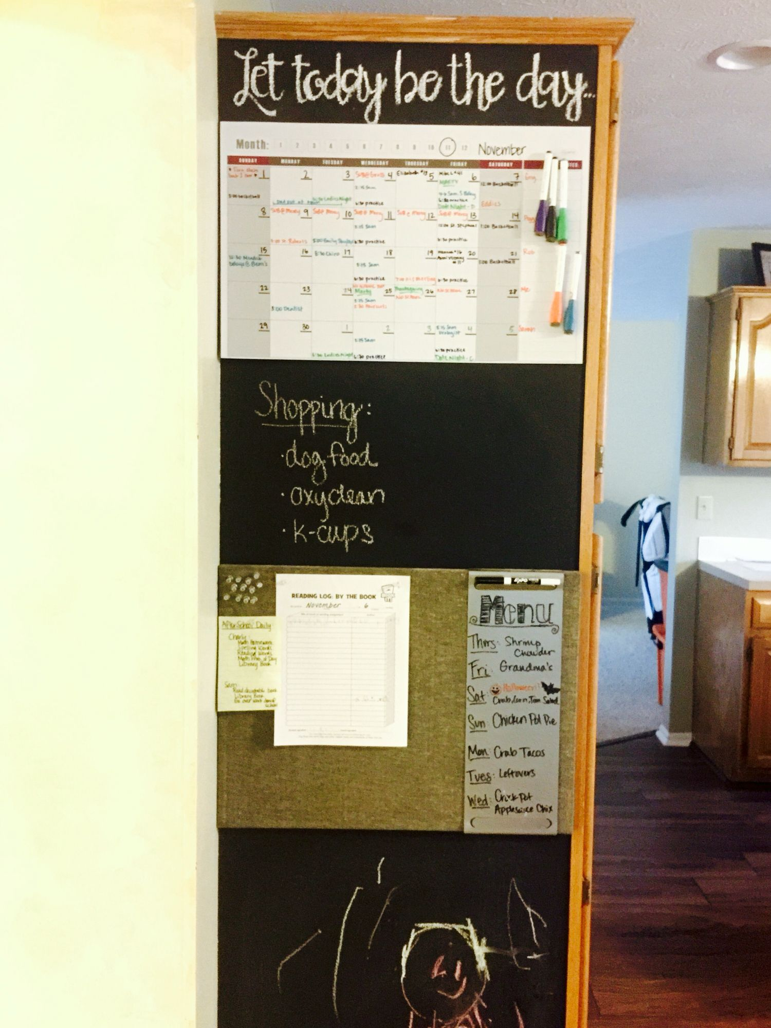 Chalkboard Family Message Center Painted On The Side Of A Tall Kitchen Cabinet With Chalkboard Paint Marker Board Family Message Center Painting Oak Cabinets