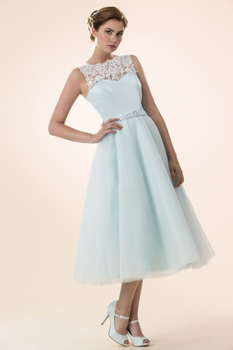 Light Blue Tulle Illusion Neck Sleeveless Tea Length Bridesmaid ...