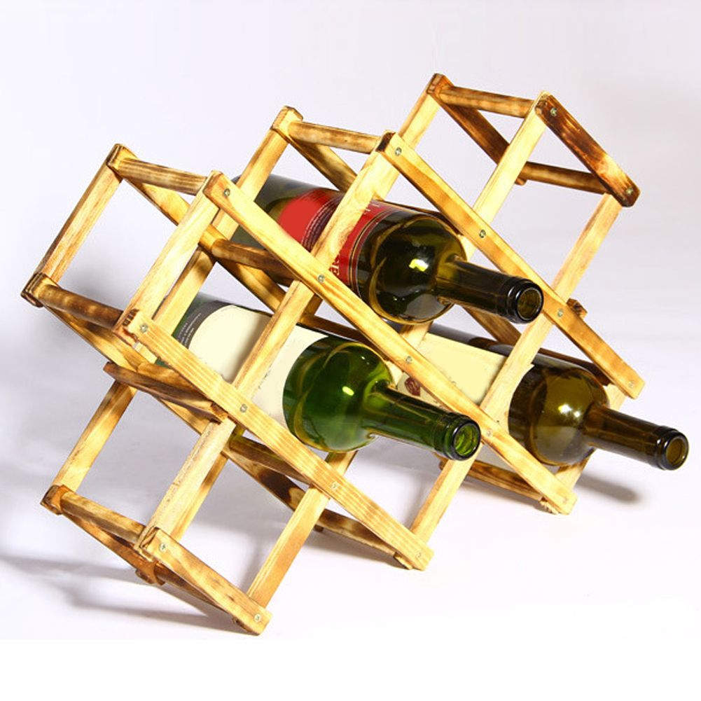 Folding wood wine rack alcohol neer care drink bottle holders solid ...