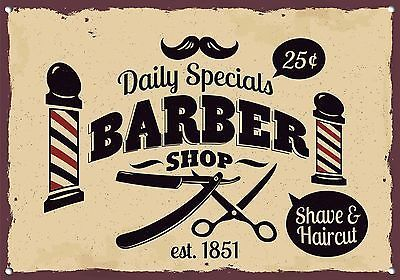 RETRO STYLE  METAL SIGN MANCAVES HOME DECOR GIFT BARBERS SHAVES /& HAIRCUTS