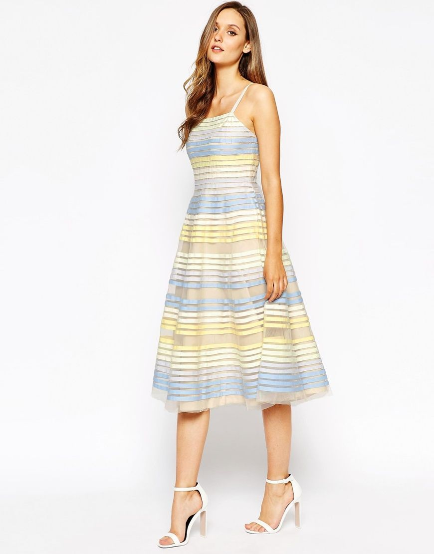 french connection delilah ribbon midi dress - perfect summer