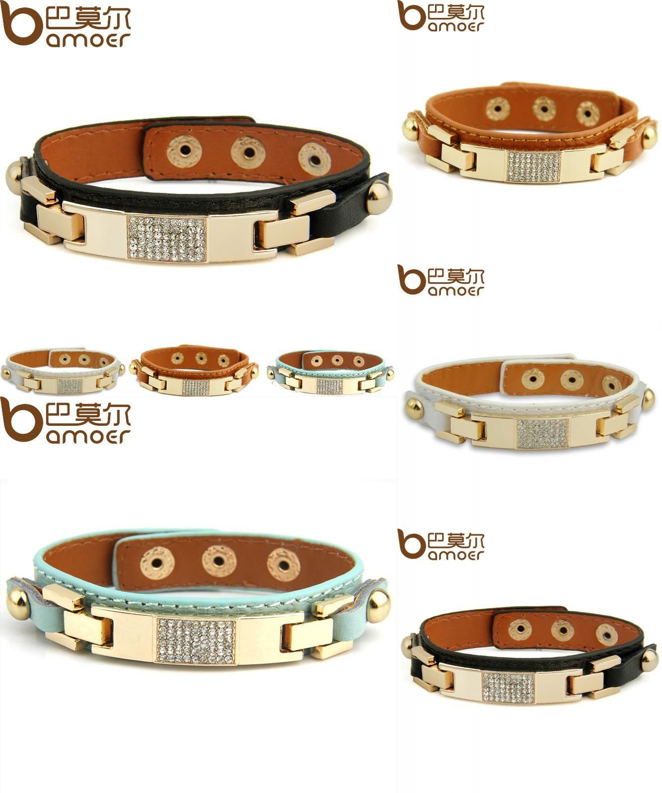Visit to buy bamoer gold color black leather bracelets u bangles