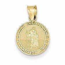 14k Gold Saint Christoper Medal Charm