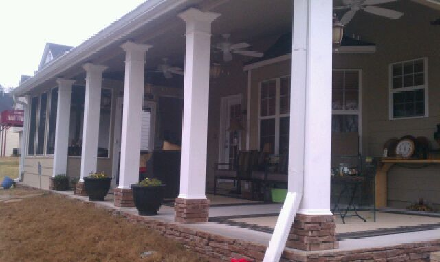 On slab with brick base square columns front porches for Square porch columns