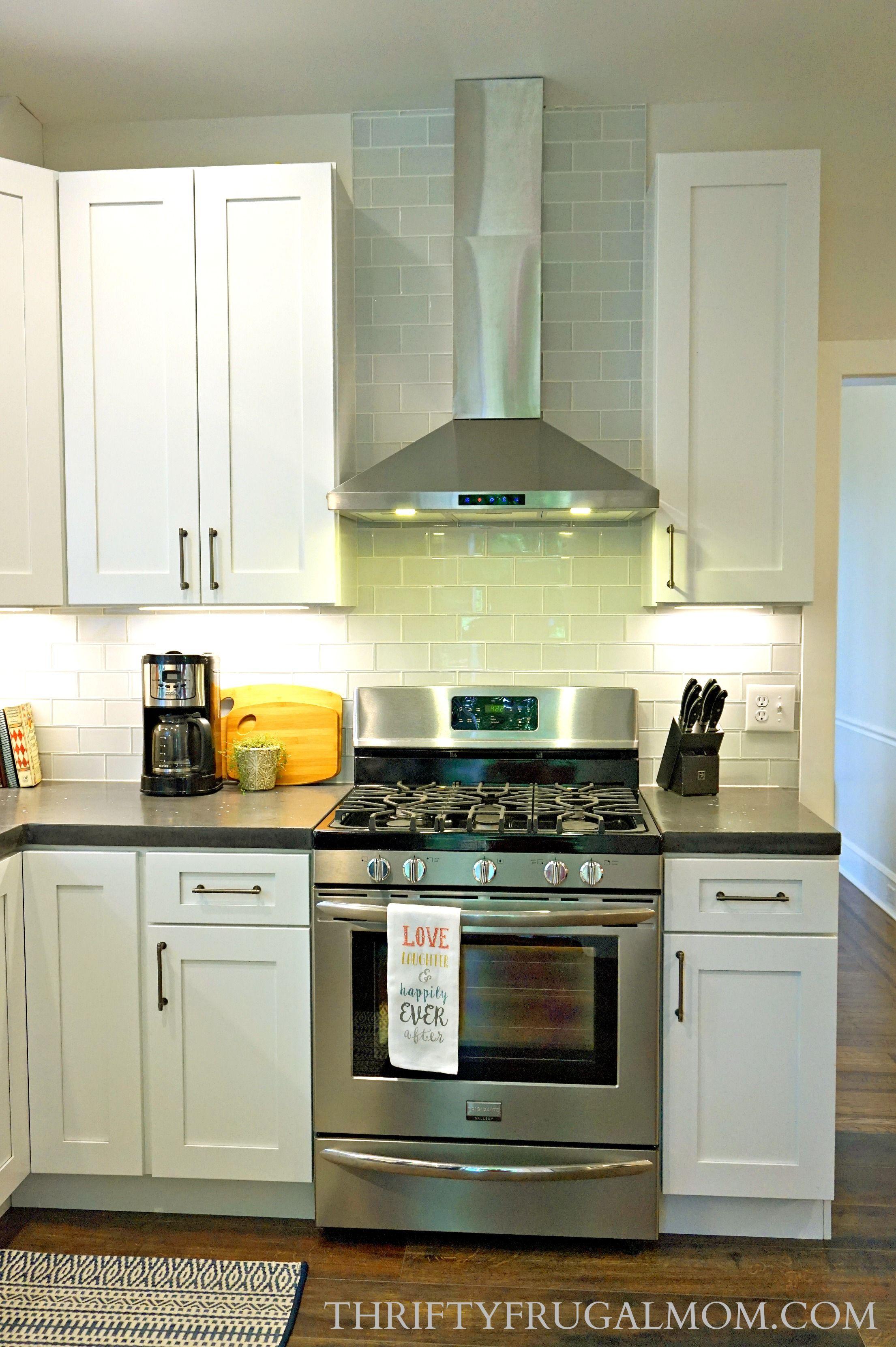 Budget Friendly Classic White Kitchen Remodel All The Details Thrifty Frugal Mom Budget Friendly Kitchen Remodel Frugal Kitchen Kitchen On A Budget