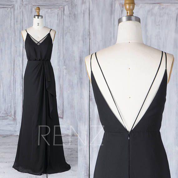Bridesmaid Dress Black Chiffon Wedding Dress V Back Maxi Dress V Neck Spaghetti Strap Prom Dress Long Ruffled Skirt A-line Party Dress(L336)