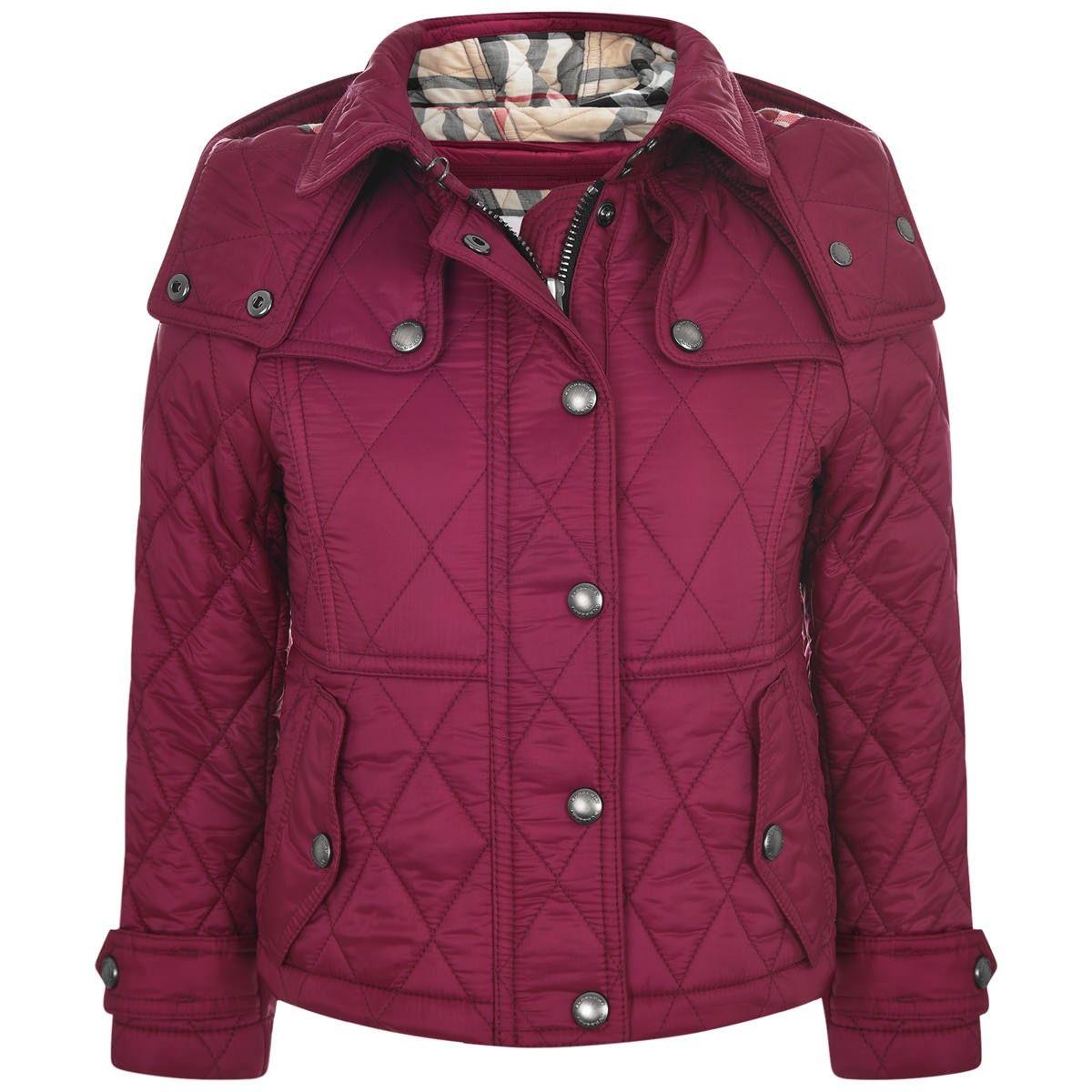 Burberry Girls Burgundy Quilted Jacket Burberry Ss16 Pinterest