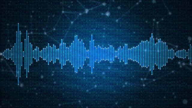 Audio spectrum animation, sound waveform on blue background