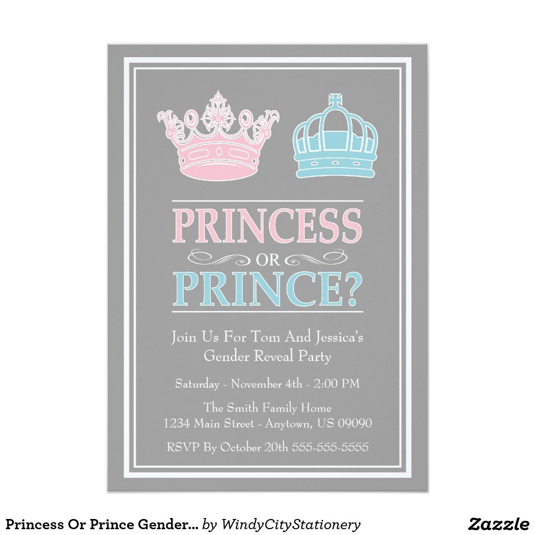 princess or prince gender reveal party invitations | princesses, Party invitations