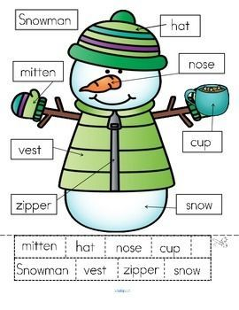Free  Differentiated Ways To Label A Snowman  Cut And Paste