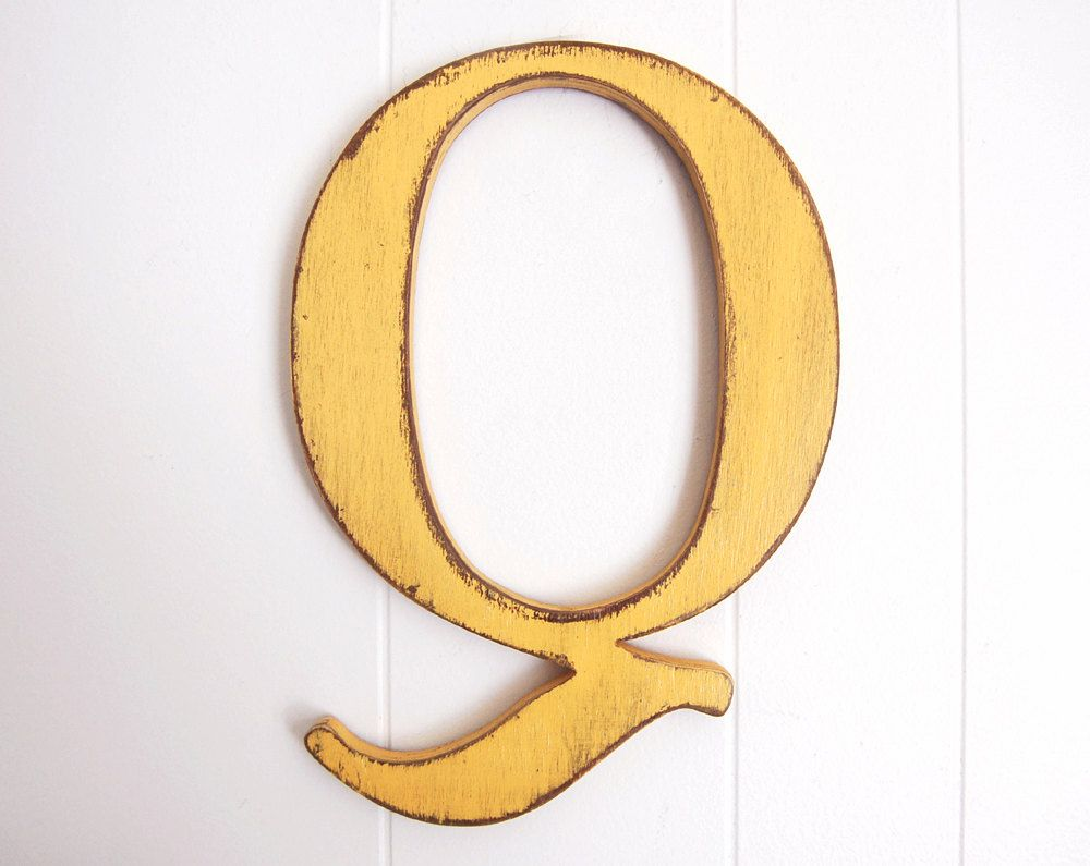 wooden wall sign Letter Q vintage inspired shabby - yellow or you choose  color. $