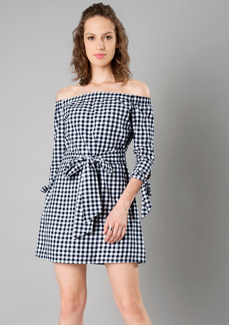 674958d9670a58 Bow Tie Bardot Dress - Gingham Online