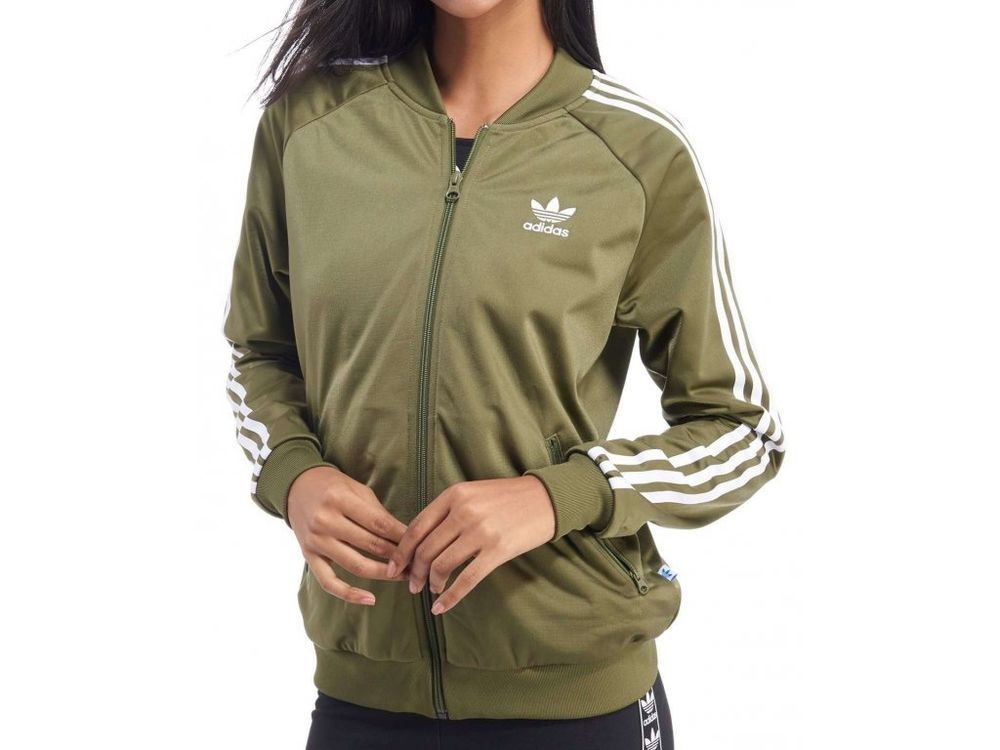 4642c65ecbf8 WOMENS ADIDAS ORIGINALS SUPERGIRL POLY WHITE KHAKI SPORT TRACK TOP JACKET  SIZE 6…