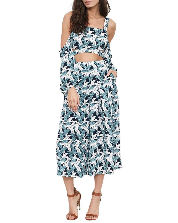 9c24f825542 Palm Leaf Print Two-Piece Crop Jumpsuit