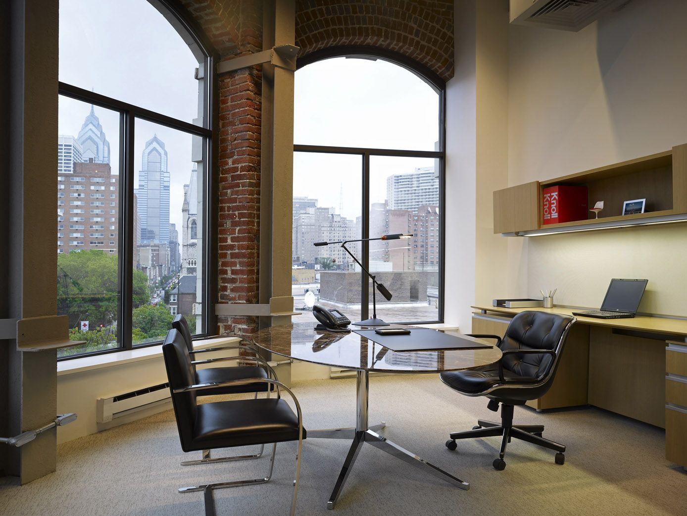 Florence Knoll table, Pollock executive chair, and Flat ...
