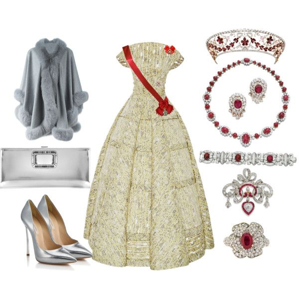 Her Majesty the Queen Mother Birthday: The Gala Dinner by queenalex on Polyvore featuring moda, Zac Posen, LISKA, Casadei, Roger Vivier, Van Cleef & Arpels, Chanel and Trianon