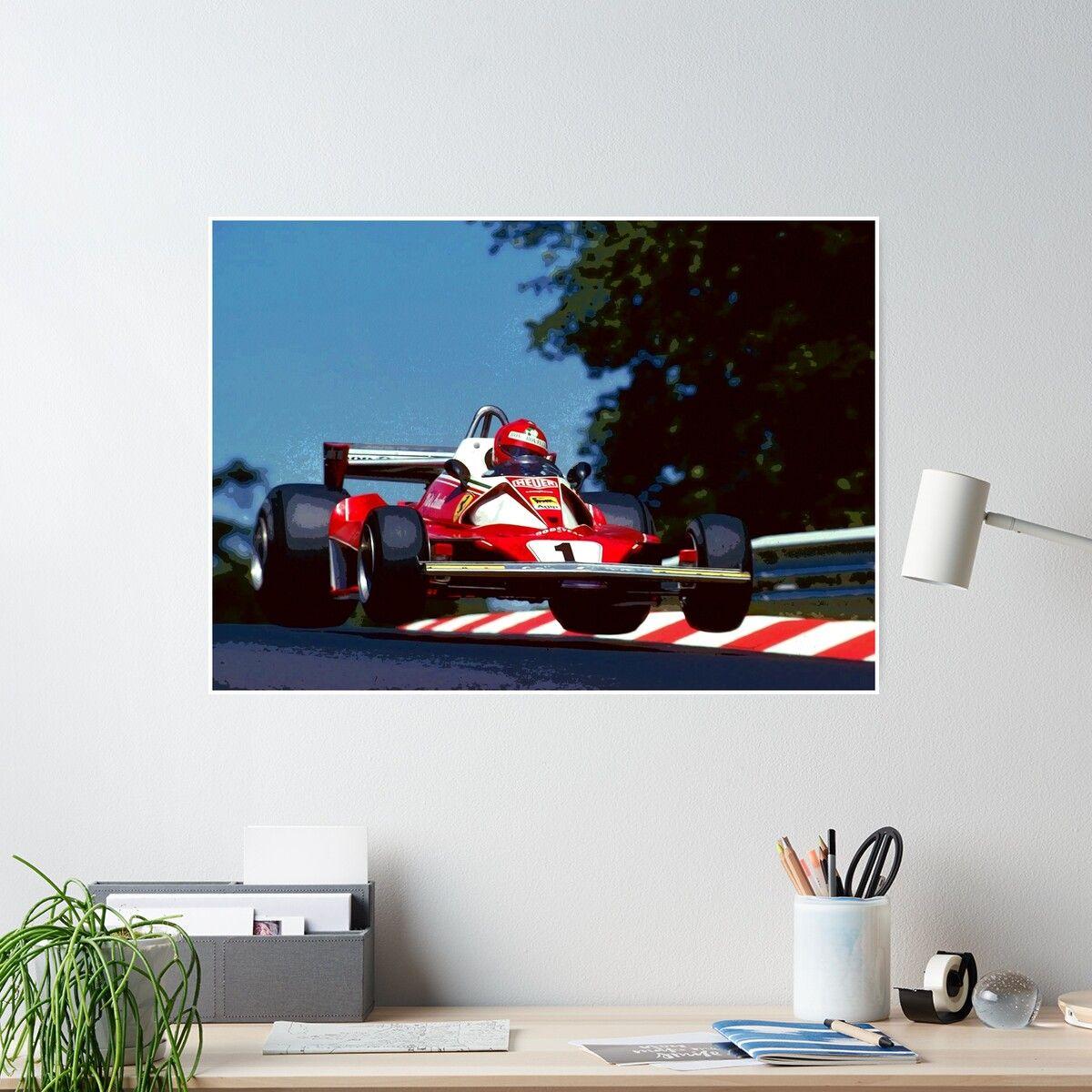 Niki Lauda Jumping In His 1976 Formula 1 Car Poster By Therod In 2021 Formula 1 Car Car Posters Formula 1 [ 1200 x 1200 Pixel ]