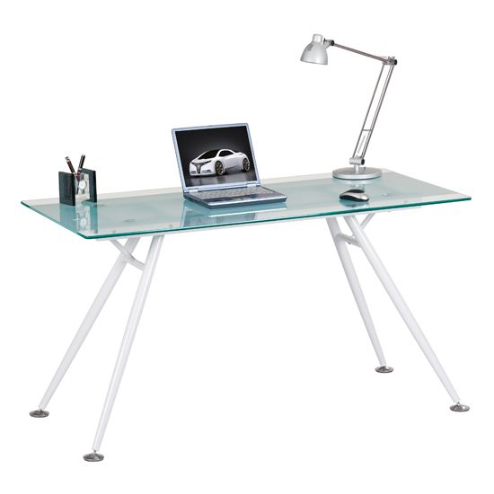Harbour Glass Computer Desk In Frosted And Clear Home Office