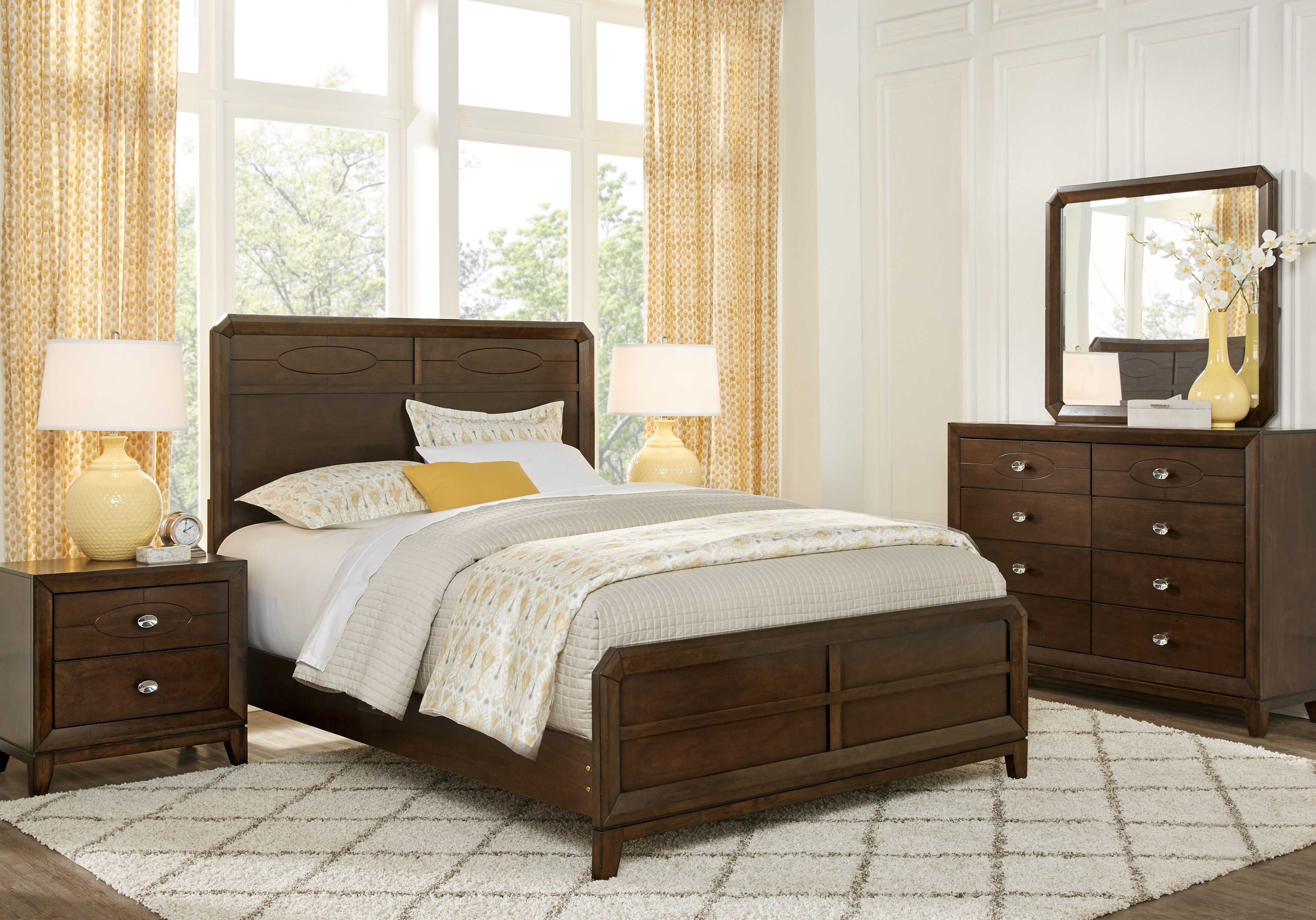 New Haven Merlot 7 Pc Queen Panel Bedroom Bedroom Sets King Size Bedroom Furniture Sets Discount Bedroom Furniture