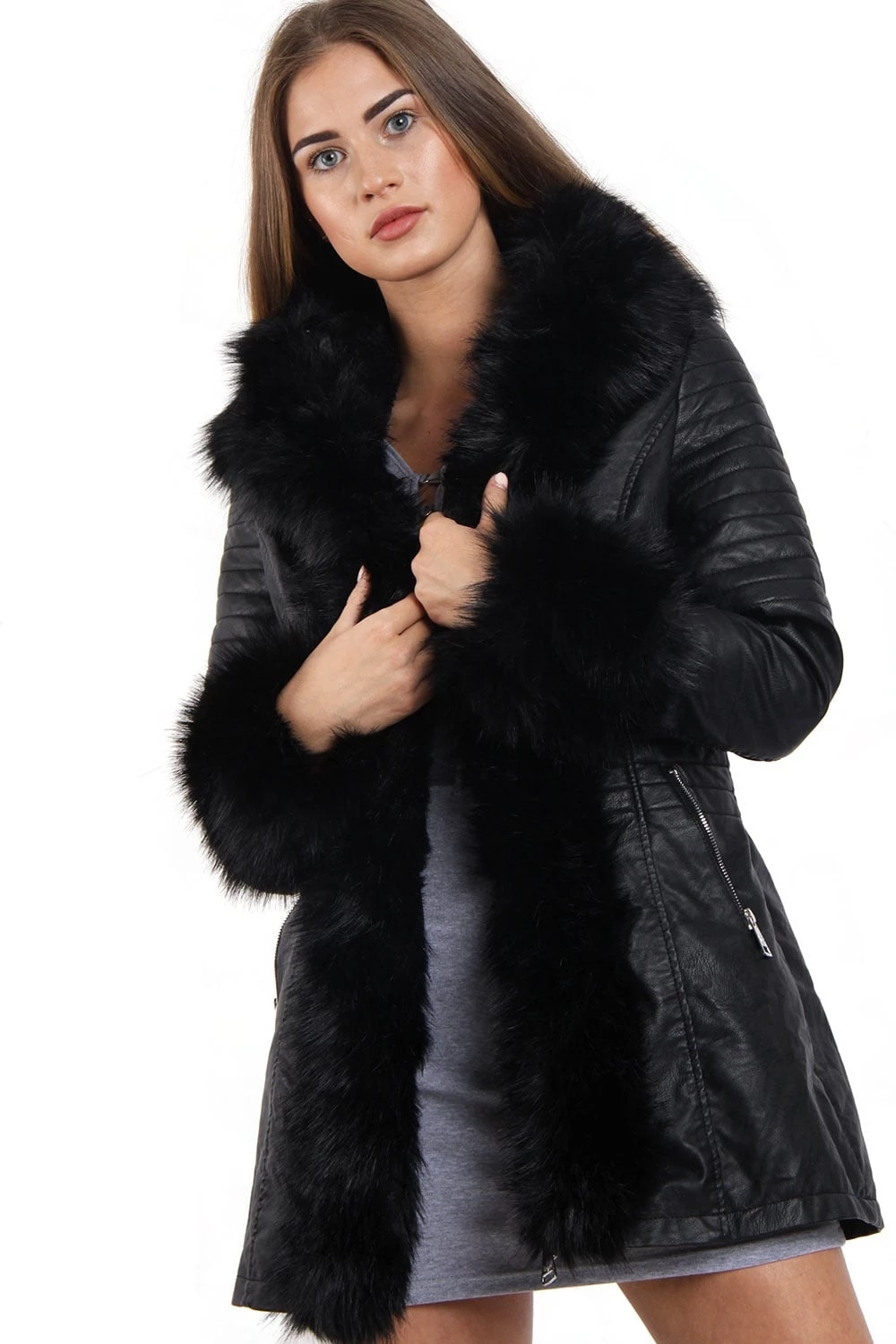 Long Faux Fur Hooded Long Biker Leather Coat Three Colors