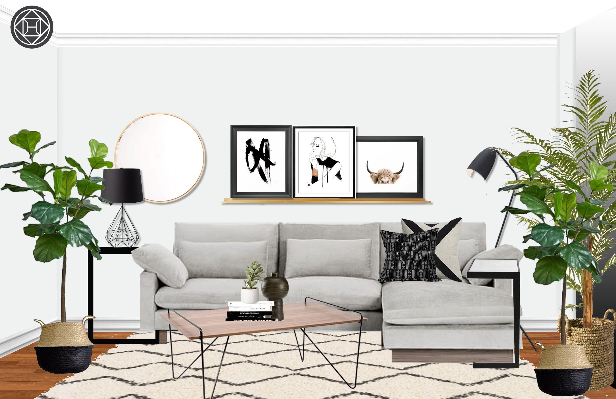 Eclectic Midcentury Modern Scandinavian Living Room Design By Havenly Interior Designer Courtney Living Room Scandinavian Mid Century Modern Living Room Scandinavian Design Living Room