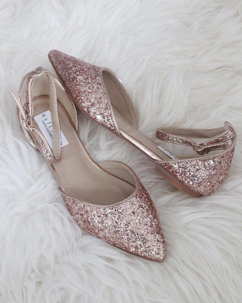 Rose Gold Rock Glitter Ankle Strap Flats Women Shoes Kailee P Weddingshoes Ankle Strap Flats Bride Shoes Wedding Shoes Flats