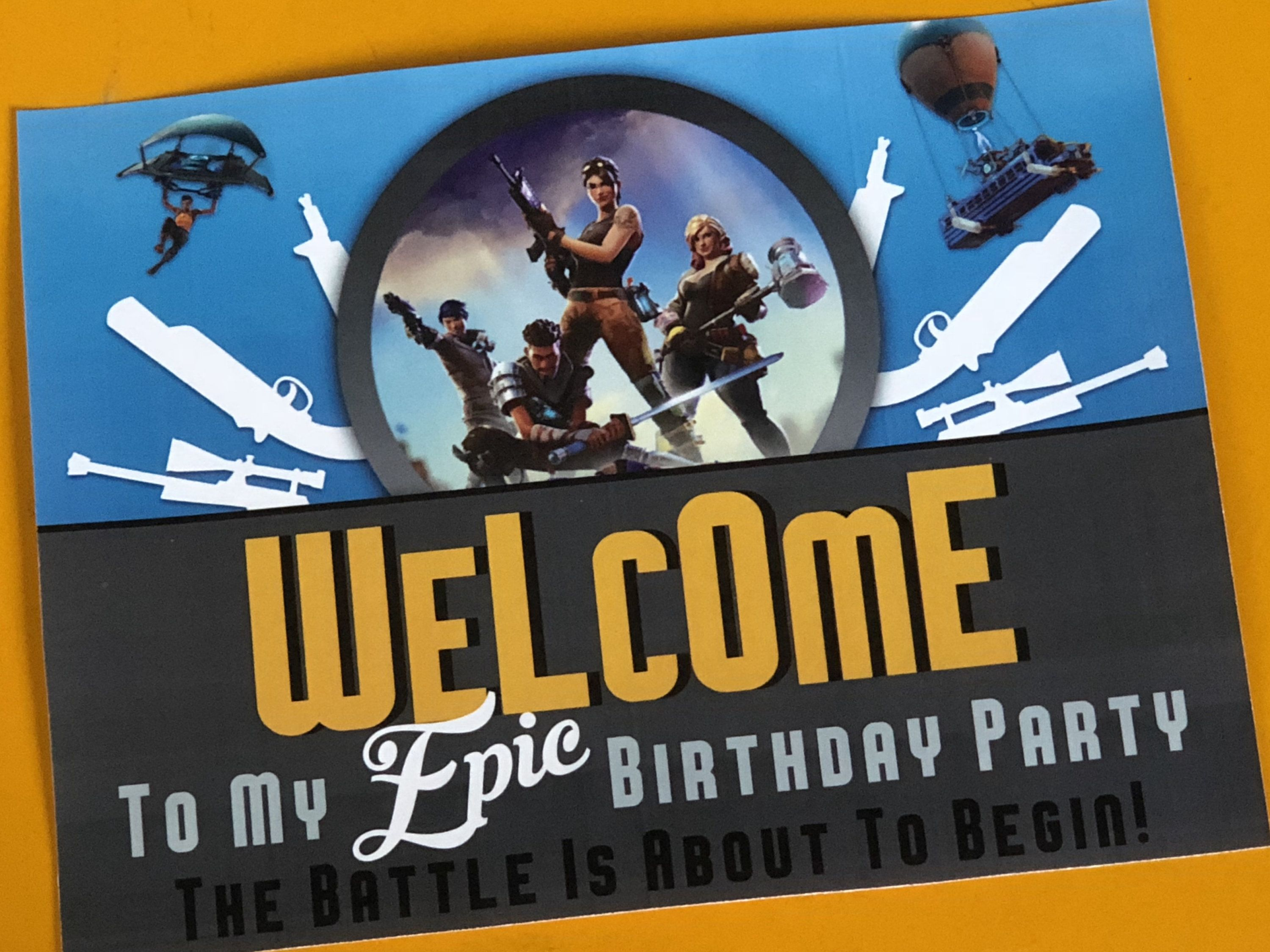 Fortnite Party Welcome Sign Fortnite Birthday Party Printable