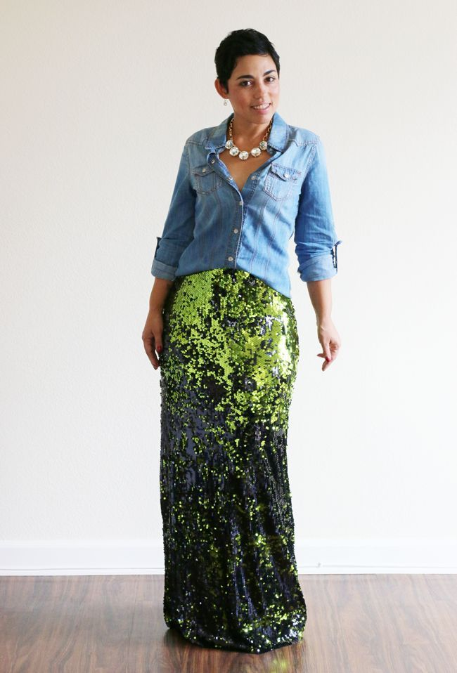 Image result for how to wear sequins maxi fishtail skirt with denim