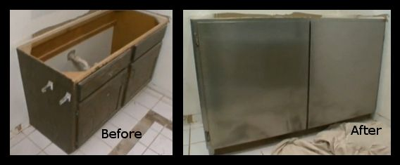 Covering Bathroom Cabinet With Stainless Steel Foil Also For The Long Legs