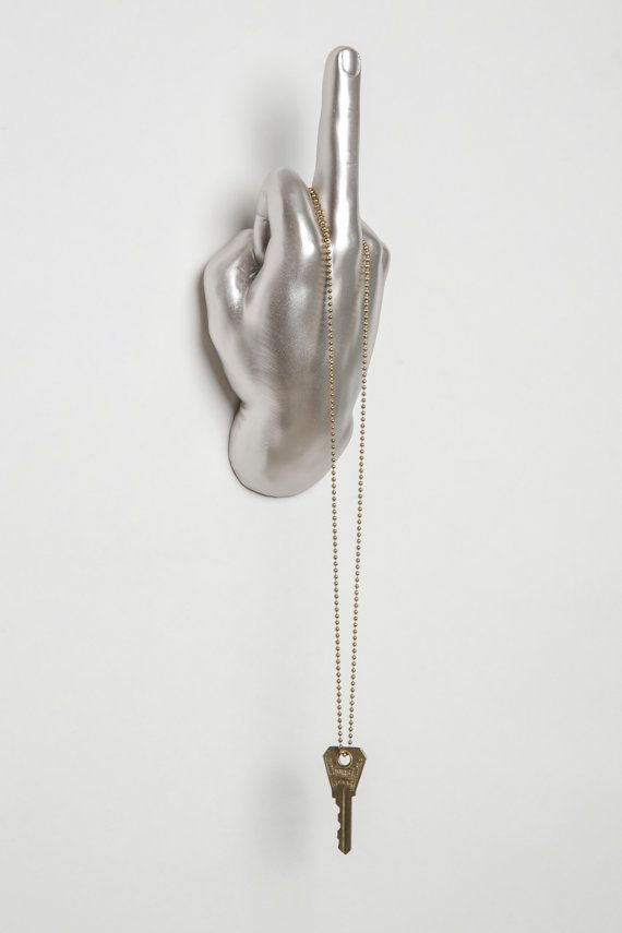 Middle Finger hand wall hook silver by InteriorIllusions on Etsy