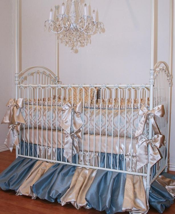 Brighton Court Crib Bedding Set By Little Bunny Blue Luxury High End Baby Upscale Nursery Designer Littl