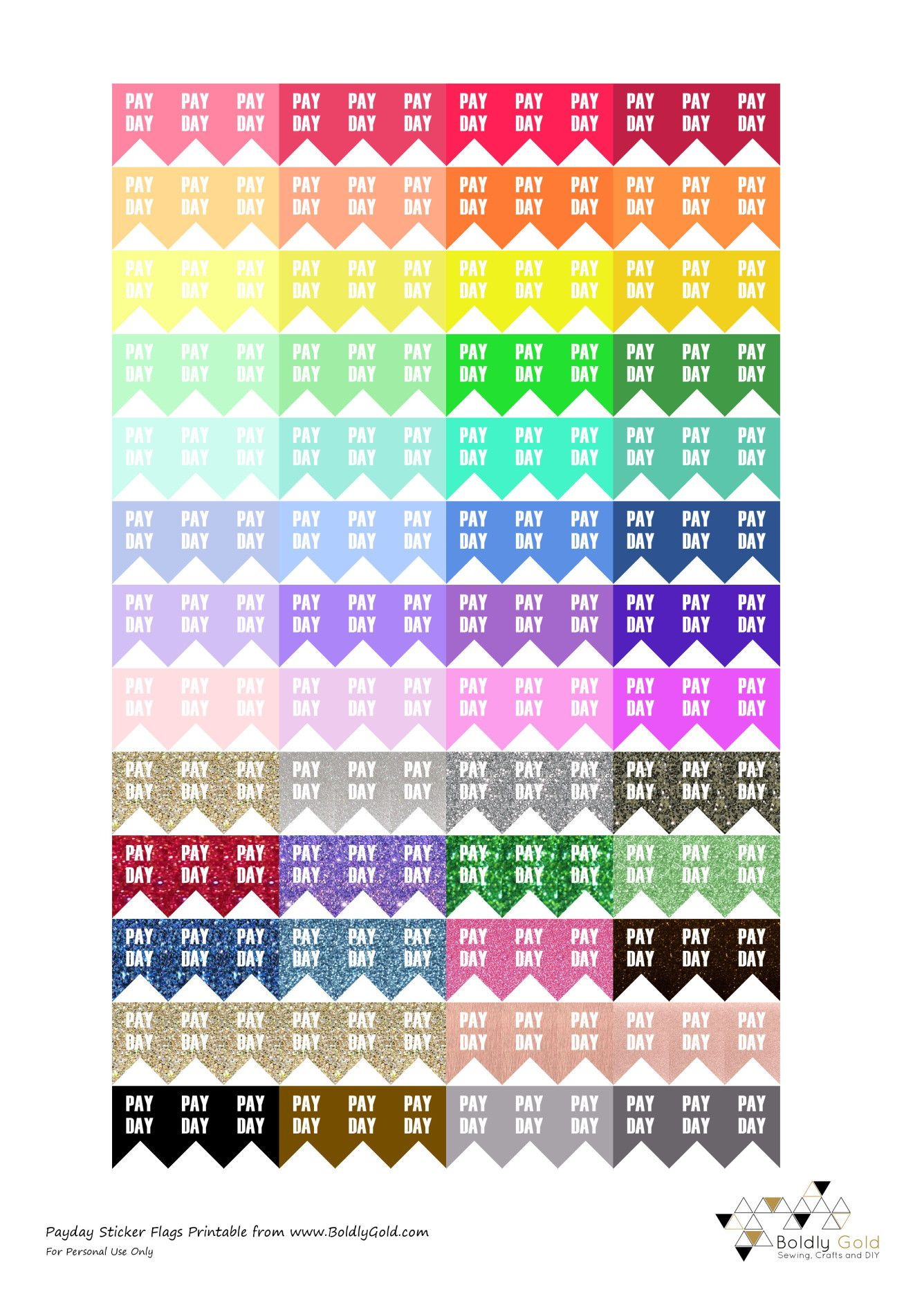 Free Printable Planner Stickers Payday Flags Boldly Gold Planer