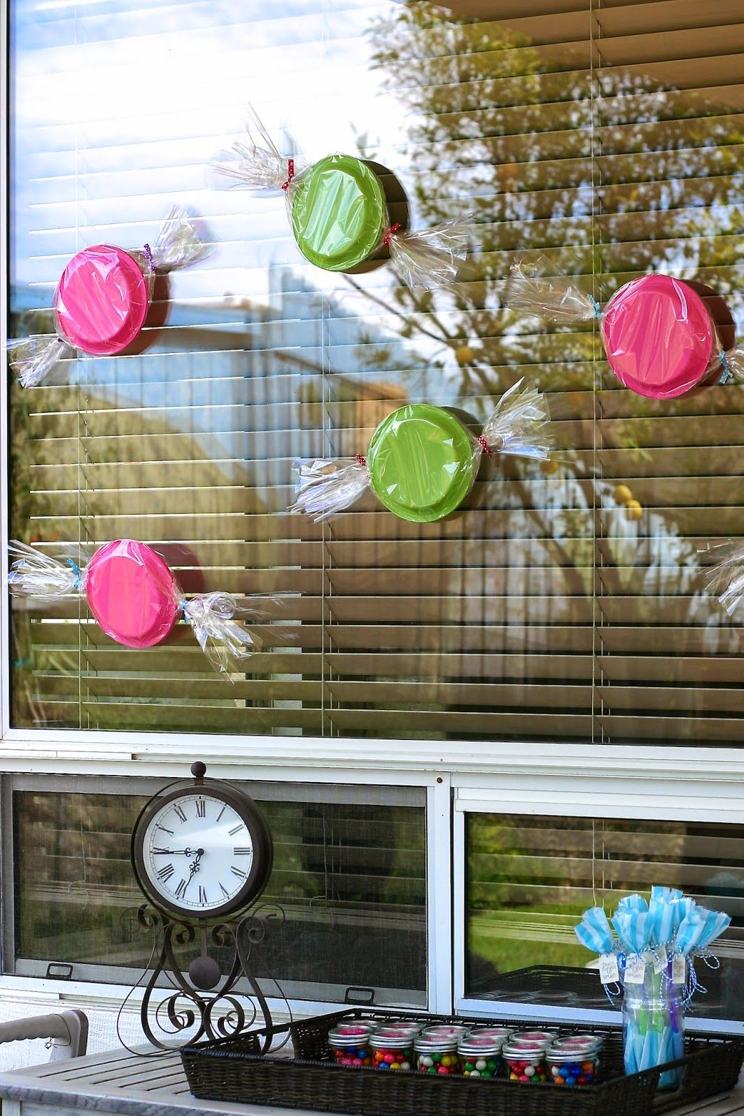 Paper plates + cellophane fun decorations for a