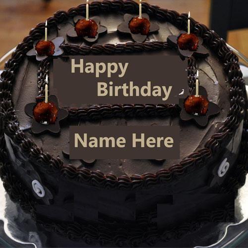 Write Name On Chocolate Happy Birthday Cake With Candlebirthday Cakes Namewrite