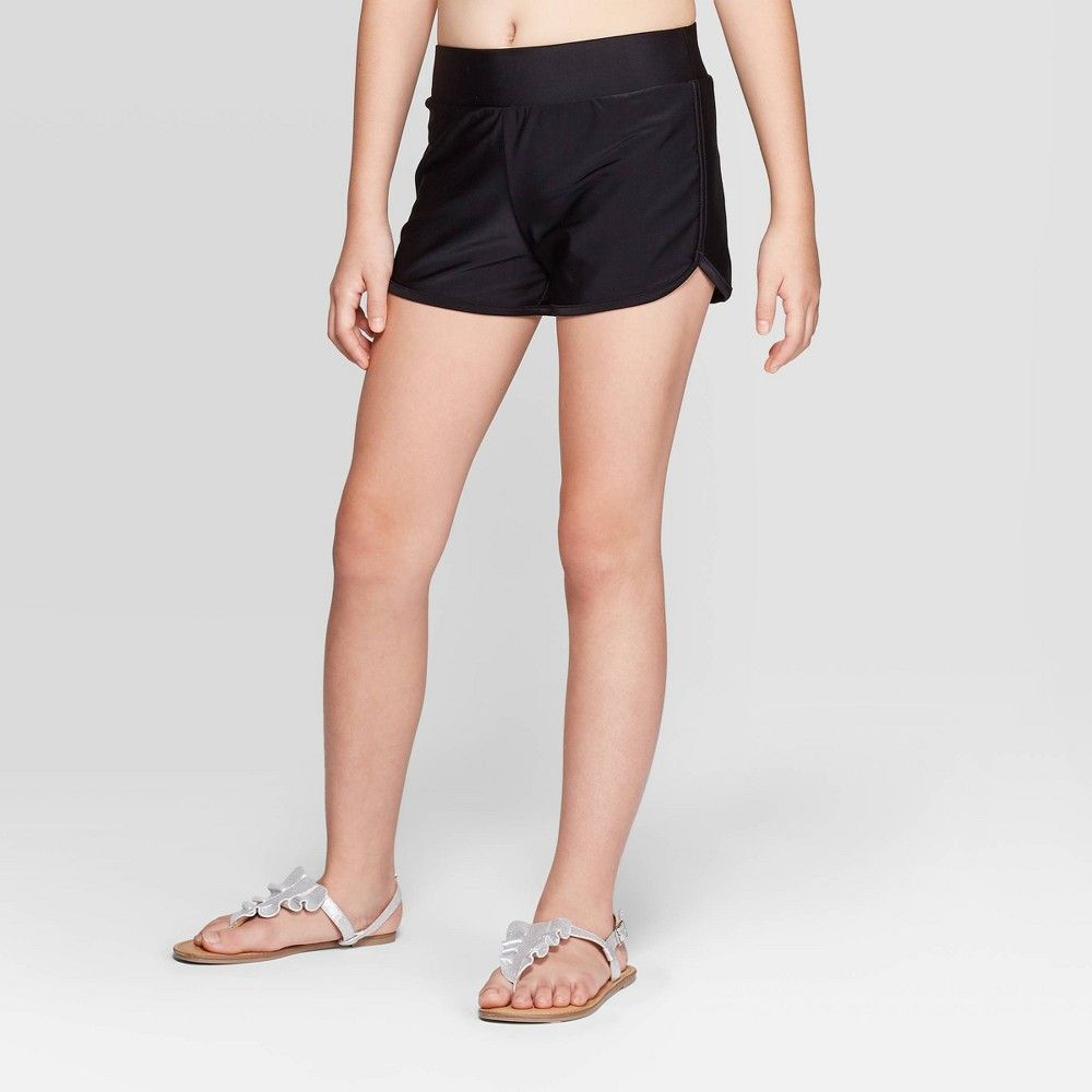 Girls' Swim Cover Up Shorts With Lining - art class™ Black S