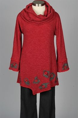 NP - Cowl Neck Tunic - Red & Grey