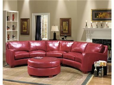 Shop For Usa Premium Leather Raspberry Round Ottoman 469930 And Other Living Room Ottomans At Ki Leather Sectional Ottoman In Living Room Living Room Leather