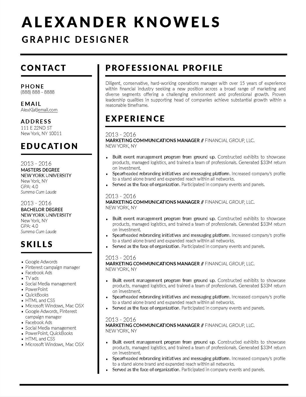 The excellent Job Winning Resume Templates For Microsoft