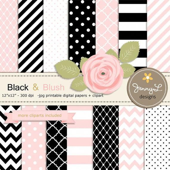 Black and Blush Pink Digital Paper, Blush Rose Flower ...