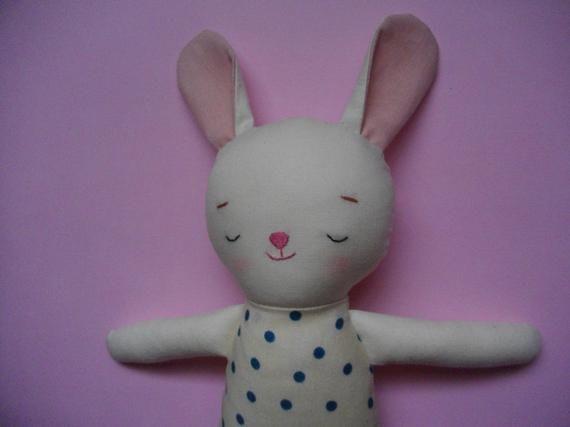 Sleepy Bunny Plush - Handmade cloth doll stuffed bunny plushie baby toy