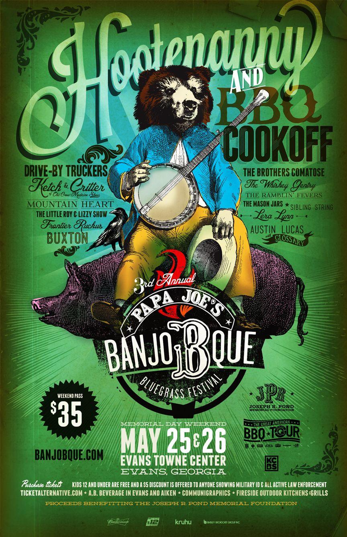 Banjobque  Poster Bluegrass Festival Bbq Poster