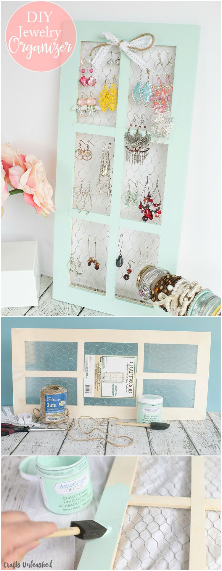 DIY Jewelry Holder with Chicken Wire Window Frame | Chicken wire ...