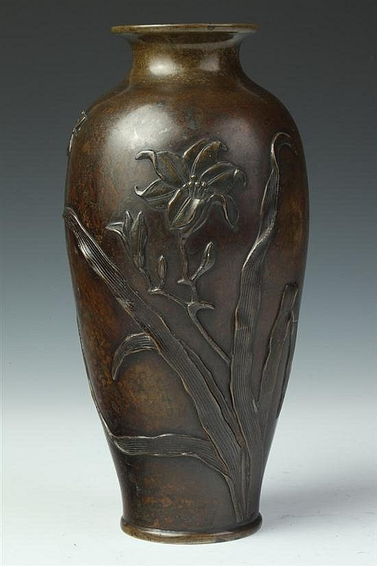 Japanese Bronze Vase Meiji Period Ovoid Form Floral Decoration