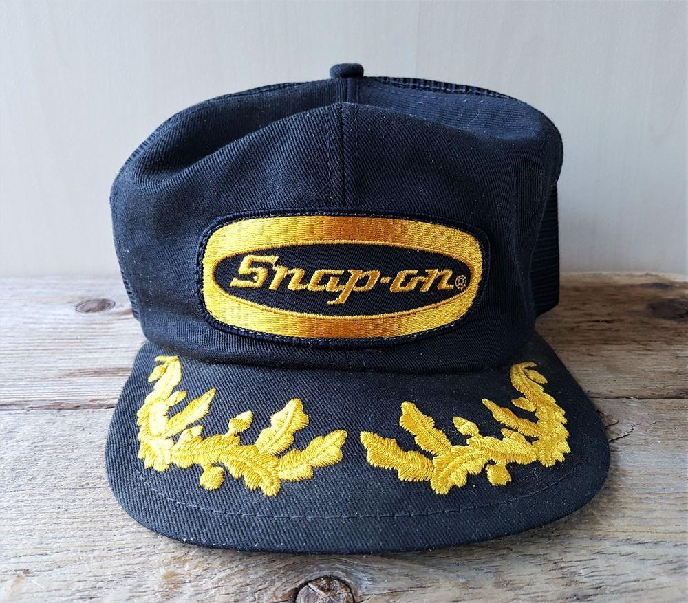 8dcf8d889a713 Vintage 80s SNAP-ON Tools Mesh Trucker Hat Gold Laurel Leaf Snapback Cap  K-Brand  KBrand  BaseballCap