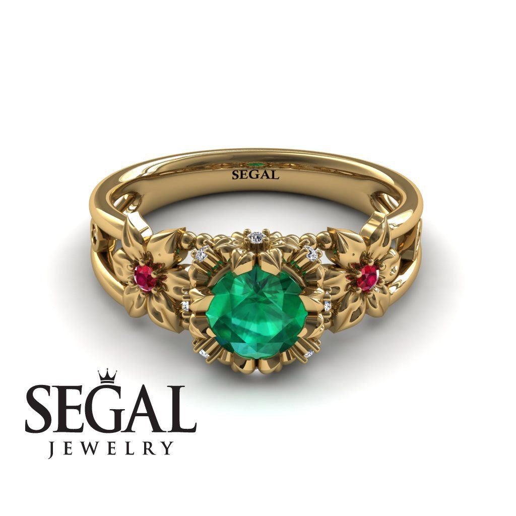 db0bdfe681b75 Flower and Leafs Powerhouse Ring Green Emerald Ring- Mackenzie no ...