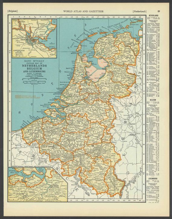 Vintage map netherlands belgium luxemburg from 1937 original vintage map netherlands belgium luxemburg from 1937 original gumiabroncs Gallery