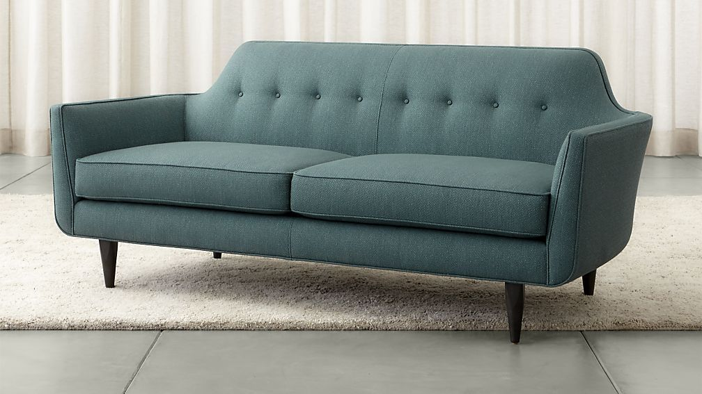 Gia Blue Modern Tufted Apartment Sofa Reviews Crate And Barrel